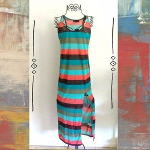 NEW Striped Maxi Dress with Leg Slit Size Small